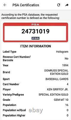 1994 Donruss Special Edition Gold Ken Griffey Jr PSA 10 Gem Mint LOW POP