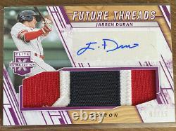 2019 Elite Extra Edition Jarren Duran Future Threads Patch Auto /15 Red Sox