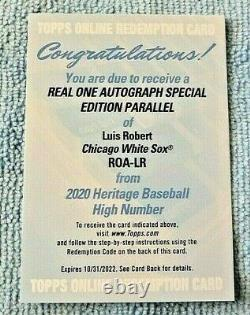 2020 Topps Heritage High Number Luis Robert Auto Special Edition Rc Redemption