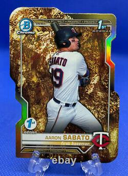 2021 Bowman 1st Edition Aaron Sabato Prospector's Special Gold Die Cut #27/49