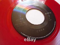 CHER'Dama Oscura' 1974 original RED vinyl 7 45 Single ULTRA RARE