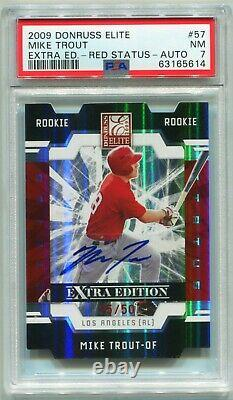 Mike Trout 2009 Donruss Elite Extra Edition Red #57 ROOKIE RC AUTO /50 PSA 7
