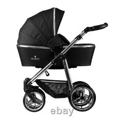 Venicci Pram Special Silver Edition 3 in 1 Travel Baby Pushchair System Black