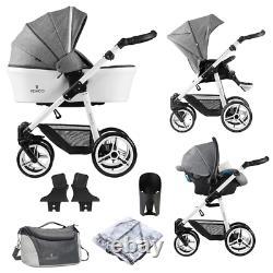 Venicci Pure Special Edition 3 in 1 Travel System Denim Grey / White