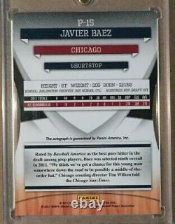 2011 Donruss Elite Extra Edition Javier Baez Prospects Auto Rc Jersey # 3/5