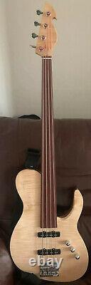 Bass Simple Coupe À 4 Cordes De Fretless À La Main (options Gratuites De Conception De Travaux D'art Personnalisés)