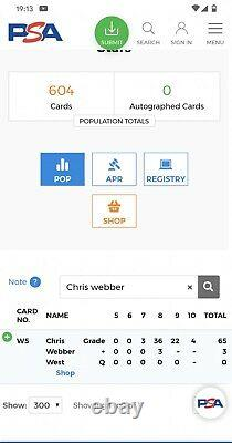 Chris Webber Rc 1993-94 Ud Se Die-cut All Stars West #w5 Psa 10 Pop 4 Rare