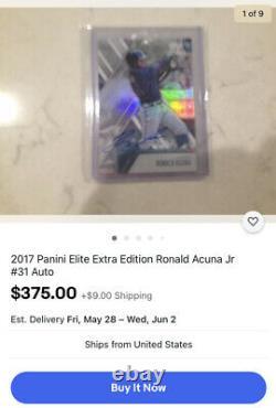 Édition Supplémentaire 2017 Panini Elite Ronald Acuna Sur Carte Auto Rc Rookie Autograph