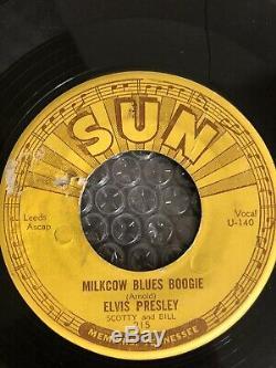 Elvis Presley Cracked Vinyle 45 Tours Simple Sun Records 3 Perforeuses Milkcow Blues