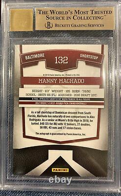 Manny Machado - 2010 Elite Extra Edition Auto #261/425 Bgs 9.5 Gem Avec 10 Auto