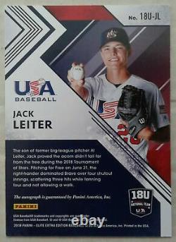 Panini USA Baseball Elite Extra Edition 2018 Jack Leiter Rc Auto Rookie #/100