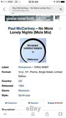 Paul Mccartney No More Lonely Nights (mole Mix) Promo Remix Scellés 1984 Vinyle