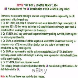 Roi Elvis Presley'74 My Boy / Lovin Arms 45 Mega Us / Uk Rare Slick Manche Vinyl