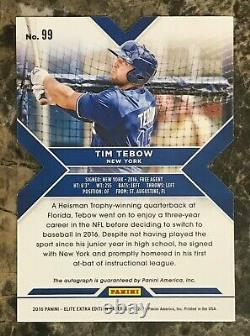 Tim Tebow 2016 Elite Extra Edition Autographes Statut Red Die Cut #99 Mets 2/25