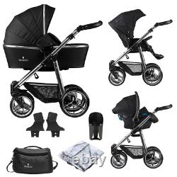 Venicci Pram Special Silver Edition 3 En 1 Travel Baby Pushchair System Noir