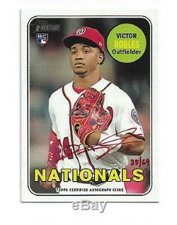 Victor Robles 2018 Édition Spéciale Topps Heritage Real One Rc Auto # / 69 Encre Rouge